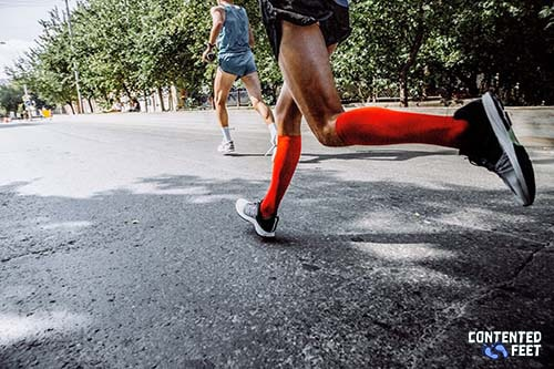Bright Red Running Compression Socks