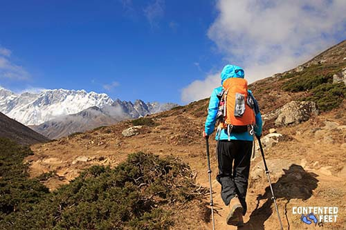 Hiker In The Snowcapped Mountains